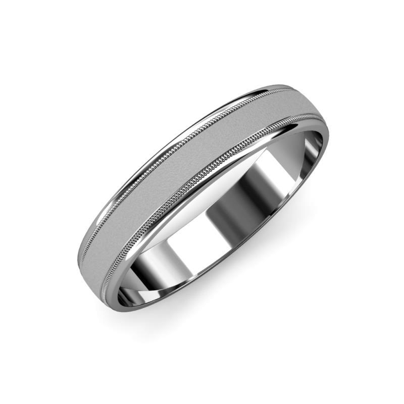 Bryon Glass Finish 4.00 mm Milgrain Wedding Band - Glass Finish 4.00 mm Milgrain Unisex Wedding Band Platinum.