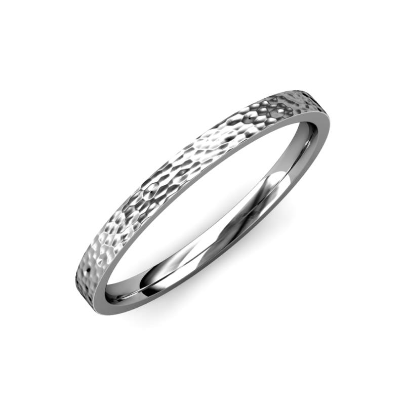 Aidan Hammer Finish 2 mm Flat Comfort Fit Wedding Band - Hammer Finish 2 mm Flat Comfort Fit Unisex Wedding Band 14K White Gold
