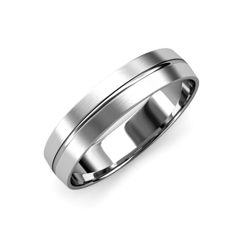 Ezalor Satin Finish 5 mm Center Ridge Wedding Band - Satin Finish 5 mm Center Ridge Unisex Wedding Band Platinum