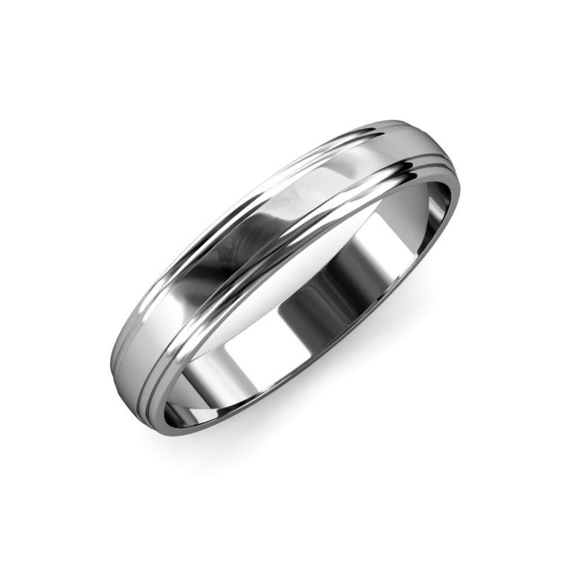 Alain High Polish 4 mm Step Edge Wedding Band - High Polish 4 mm Step Edge Unisex Wedding Band Platinum