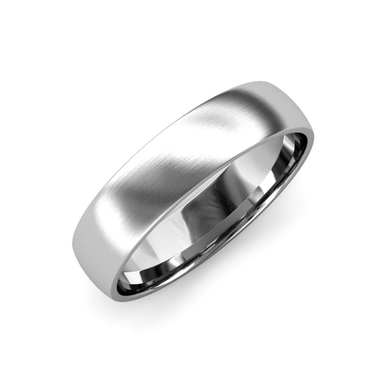 Valerio Satin Finish 2 mm Domed Wedding Band - Satin Finish 2 mm Plain Domed Unisex Wedding Band 14K White Gold