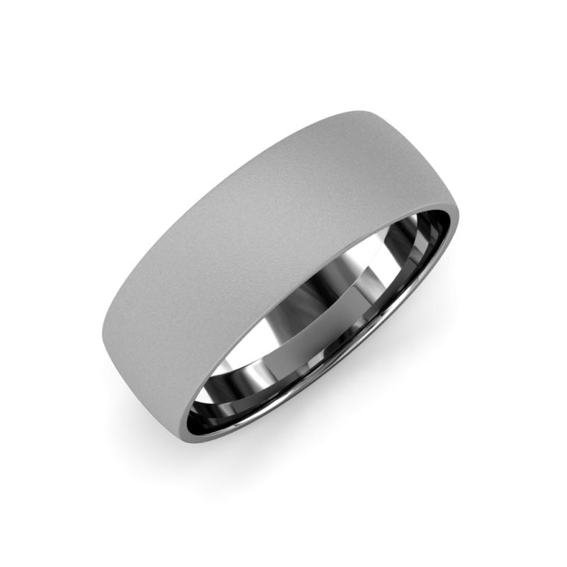 Valerio Glass Finish 2 mm Domed Wedding Band - Glass Finish 2 mm Plain Domed Unisex Wedding Band 14K White Gold