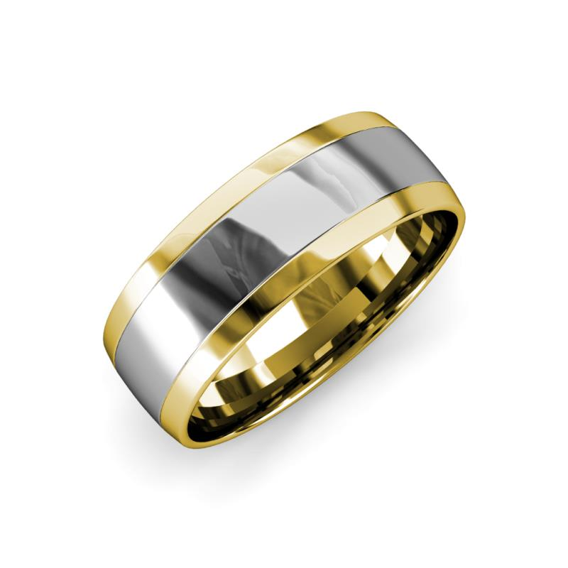 Thorin High Polish 7 mm Two Tone Wedding Band - High Polish 7 mm White Gold Two Tone Unisex Wedding Band 14K White Gold