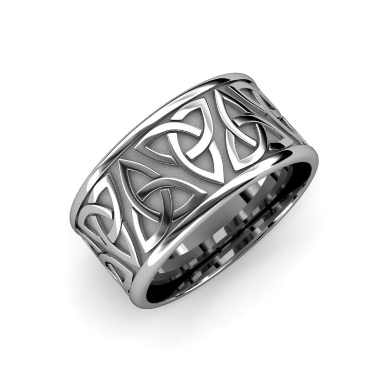 Arden High Polish 7 mm Celtic Trinity Knot Wedding Band - High Polish 7 mm Celtic Trinity Knot Unisex Wedding Band 18K White Gold