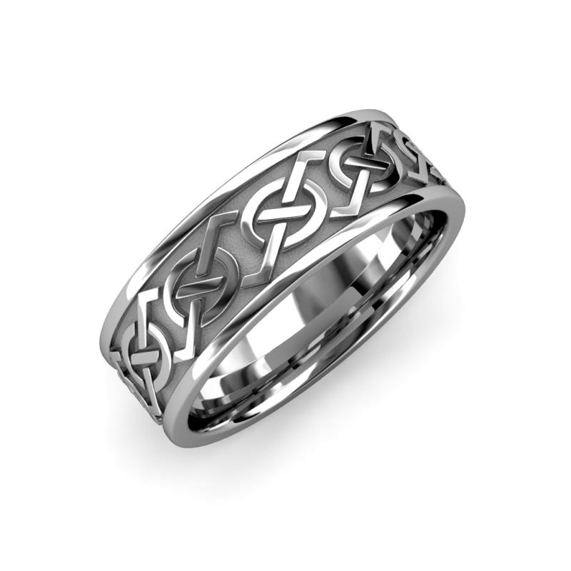 Daryl High Polish 7 mm Celtic Knot Wedding Band - High Polish 7 mm Celtic Knot Unisex Wedding Band 14K White Gold
