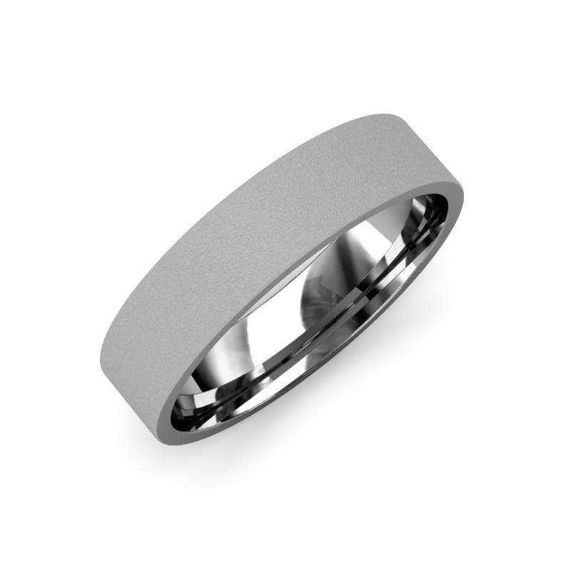 Aidan Glass Finish 2 mm Flat Comfort Fit Wedding Band - Glass Finish 2 mm Flat Comfort Fit Unisex Wedding Band 14K White Gold