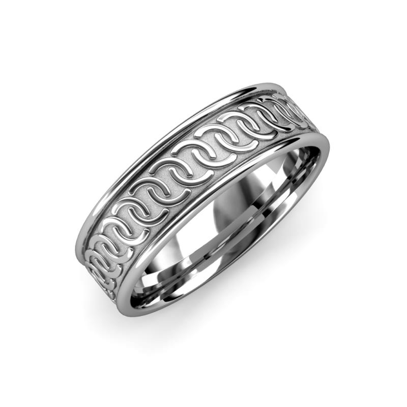 Eavan High Polish 6 mm Celtic Wedding Band - High Polish 6 mm Unisex Celtic Wedding Band 14K White Gold