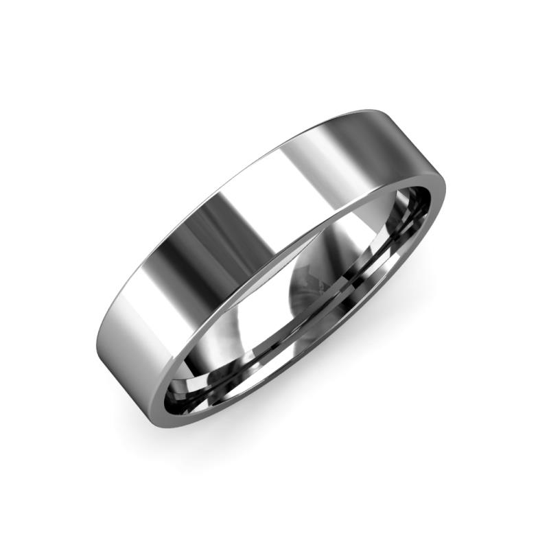 Aidan High Polish 2.00 mm Flat Comfort Fit Wedding Band - High Polish 2.00 mm Flat Comfort Fit Unisex Wedding Band 14K White Gold