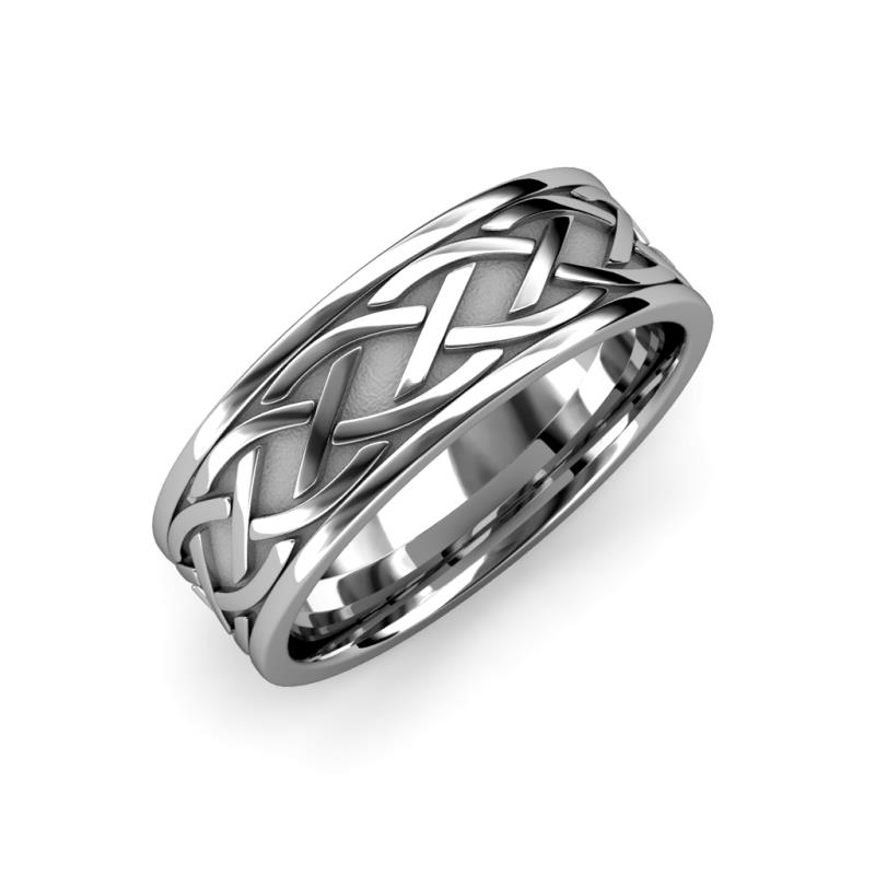 Elaine High Polish 7 mm Braided Celtic Wedding Band - High Polish 7 mm Braided Unisex Celtic Wedding Band 14K White Gold