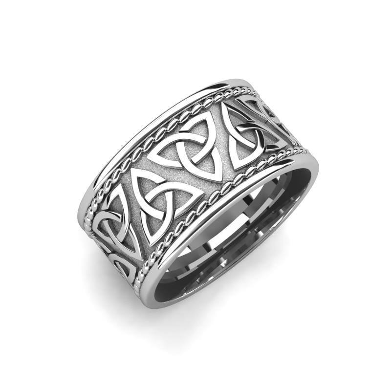 Laney High Polish 10 mm Celtic Trinity Knot Wedding Band - High Polish 10 mm Celtic Trinity Knot Unisex Wedding Band 18K White Gold