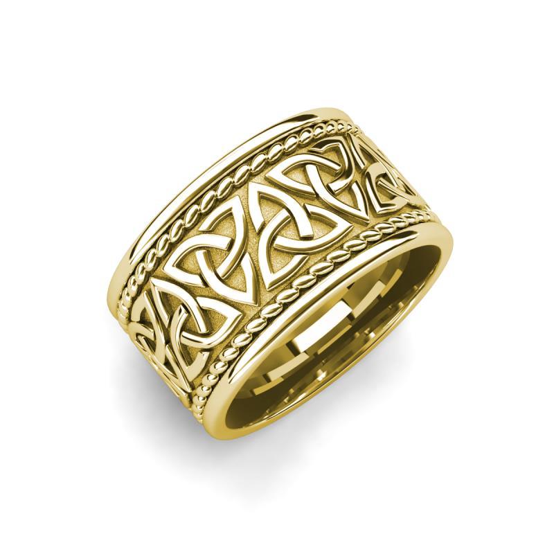 Laney High Polish 10 mm Celtic Trinity Knot Wedding Band - High Polish 10 mm Celtic Trinity Knot Unisex Wedding Band 18K Yellow Gold