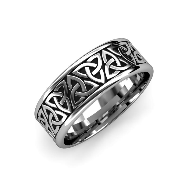Danica High Polish 7 mm Celtic Trinity Knot Wedding Band - High Polish 7 mm Celtic Trinity Knot Unisex Wedding Band 14K White Gold