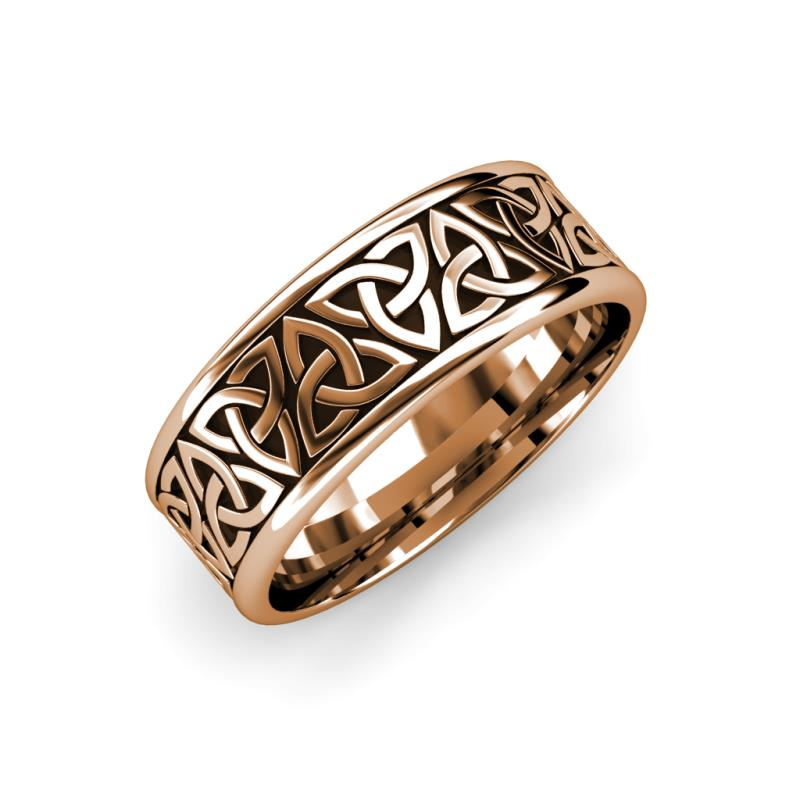 Danica High Polish 7 mm Celtic Trinity Knot Wedding Band - High Polish 7 mm Celtic Trinity Knot Unisex Wedding Band 14K Rose Gold