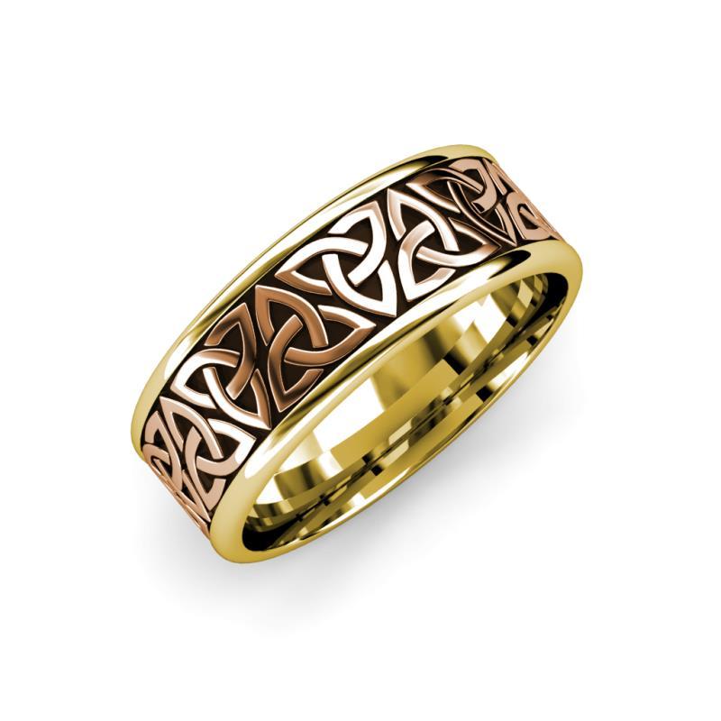 Danica High Polish 7 mm Two Tone Celtic Trinity Knot Wedding Band - High Polish 7 mm Two Tone Celtic Trinity Knot Unisex Wedding Band 14K Rose Gold