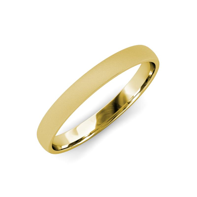 Valerio Glass Finish 2.00 mm Domed Wedding Band - Glass Finish 2.00 mm Plain Domed Unisex Wedding Band 14K Yellow Gold