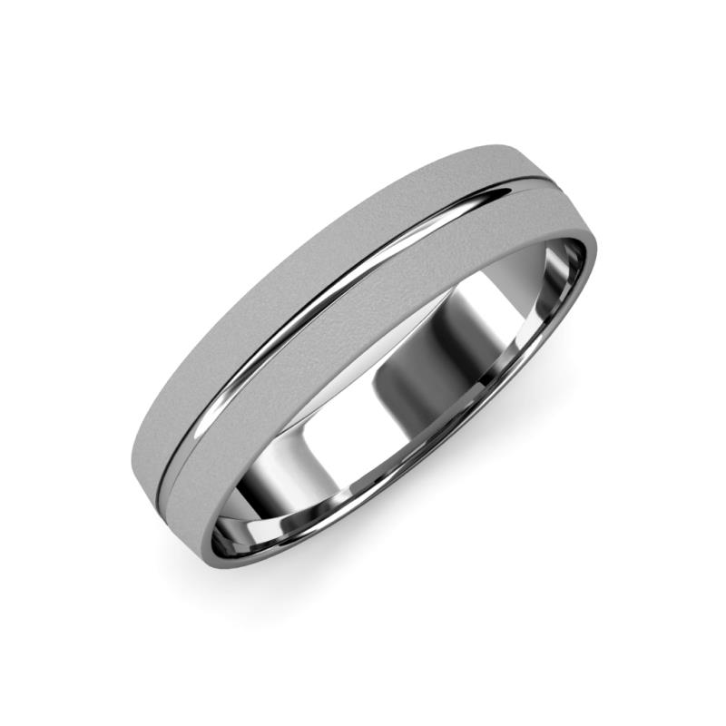 Ezalor Glass Finish 5 mm Center Ridge Wedding Band - Glass Finish 5 mm Center Ridge Unisex Wedding Band 14K White Gold