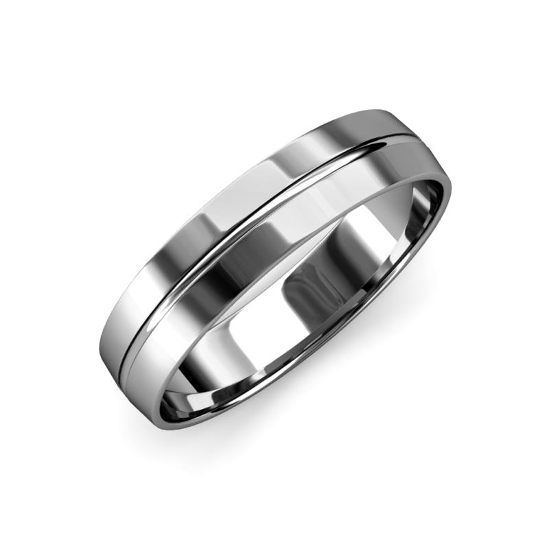 Ezalor High Polish 5.00 mm Center Ridge Wedding Band - High Polish 5.00 mm Center Ridge Unisex Wedding Band 14K White Gold