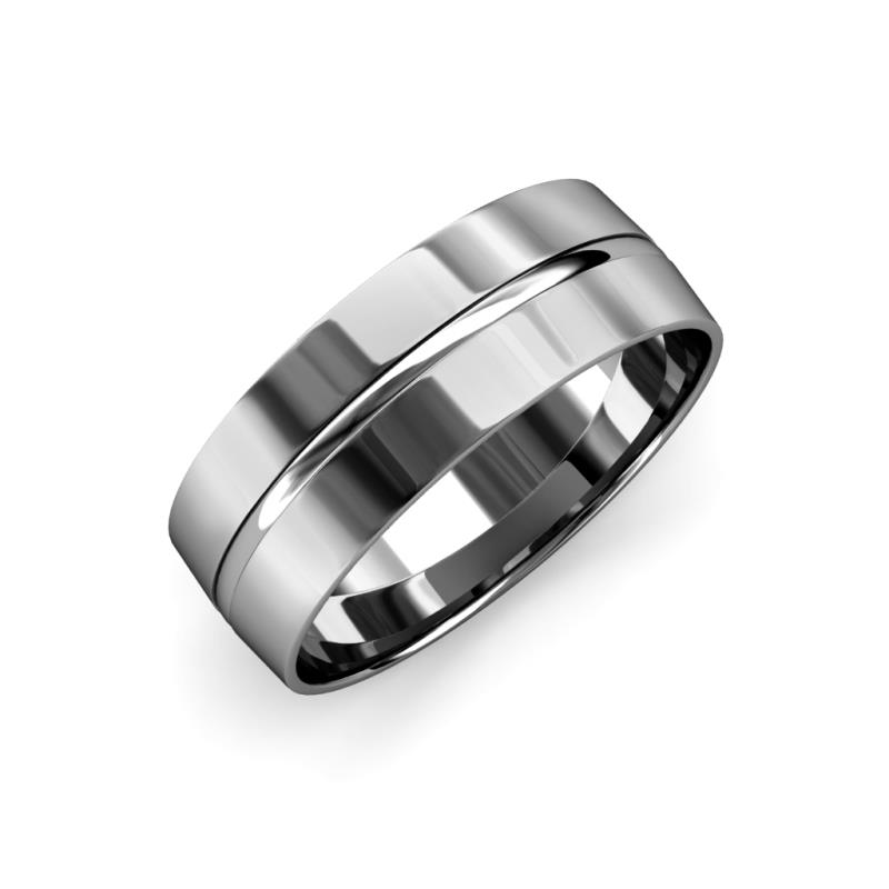Ezalor High Polish 5 mm Center Ridge Wedding Band - High Polish 5 mm Center Ridge Unisex Wedding Band 14K White Gold