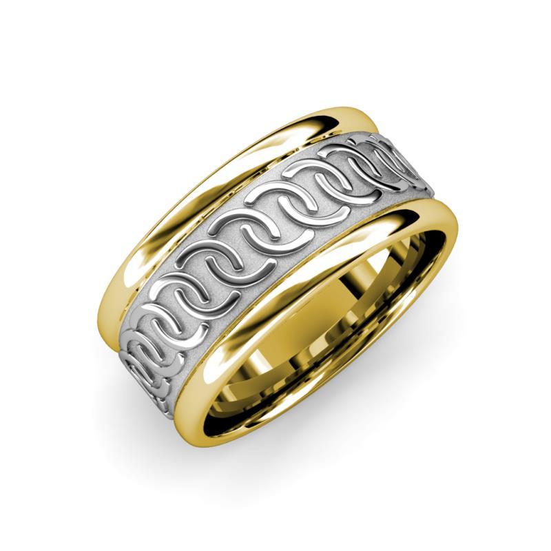 Eavan High Polish 6.00 mm Two Tone Celtic Wedding Band - High Polish 6.00 mm Two Tone Unisex Celtic Wedding Band 14K White Gold