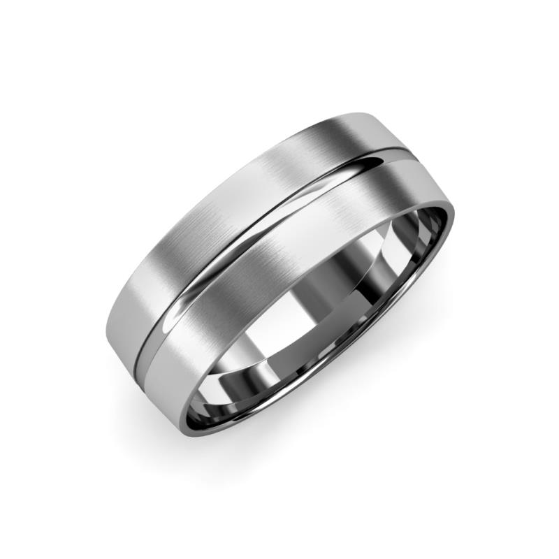Ezalor Satin Finish 5 mm Center Ridge Wedding Band - Satin Finish 5 mm Center Ridge Unisex Wedding Band 14K White Gold