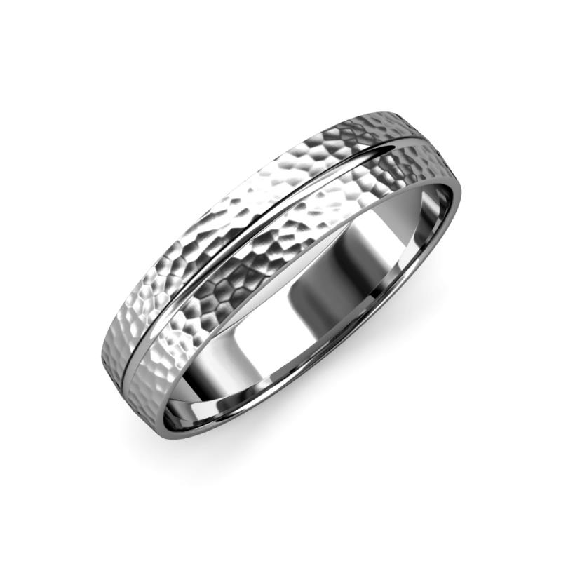 Ezalor Hammer Finish 5.00 mm Center Ridge Wedding Band - Hammer Finish 5.00 mm Center Ridge Unisex Wedding Band 14K White Gold