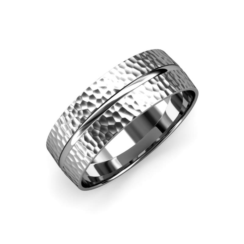 Ezalor Hammer Finish 5 mm Center Ridge Wedding Band - Hammer Finish 5 mm Center Ridge Unisex Wedding Band 14K White Gold