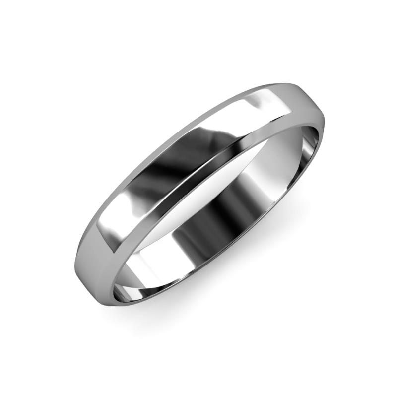 Feivel High Polish 4 mm Beveled Edge Wedding Band - High Polish 4 mm Beveled Edge Unisex Wedding Band 14K White Gold