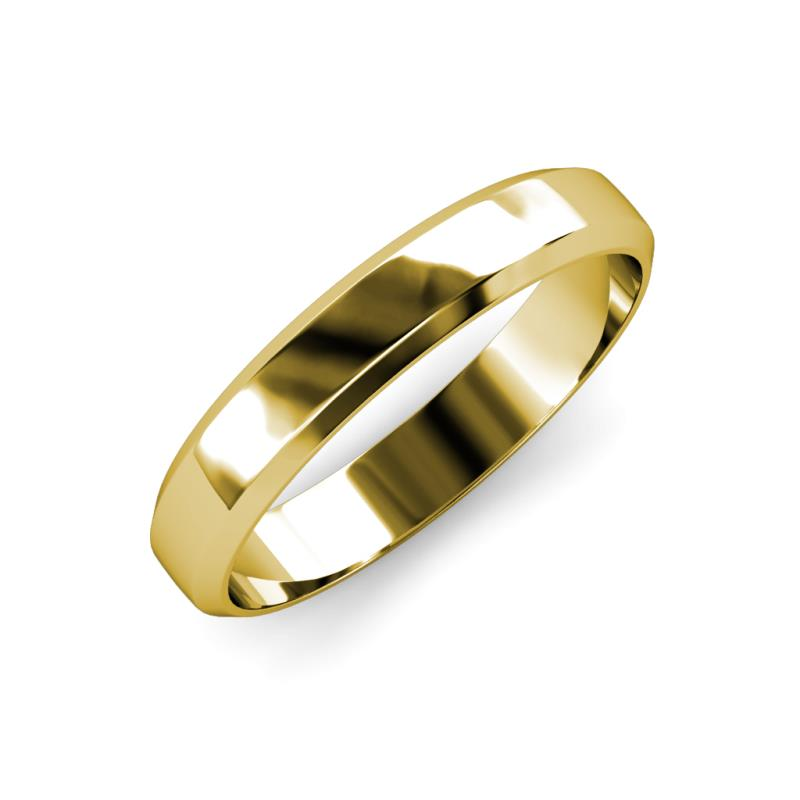 Feivel High Polish 4.00 mm Beveled Edge Wedding Band - High Polish 4.00 mm Beveled Edge Unisex Wedding Band 14K Yellow Gold