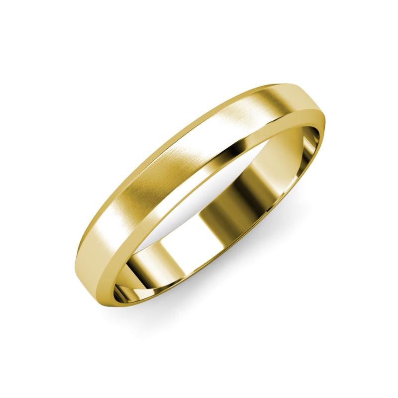 Feivel Satin Finish 4.00 mm Beveled Edge Wedding Band - Satin Finish 4.00 mm Beveled Edge Unisex Wedding Band 14K Yellow Gold