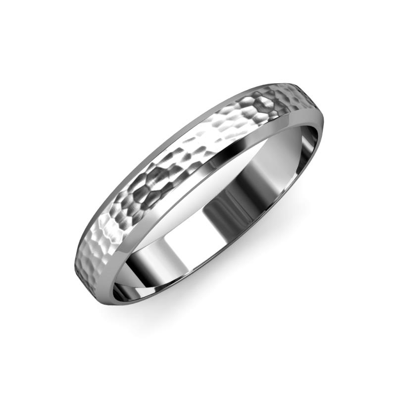 Feivel Hammer Finish 4 mm Beveled Edge Wedding Band - Hammer Finish 4 mm Beveled Edge Unisex Wedding Band 14K White Gold