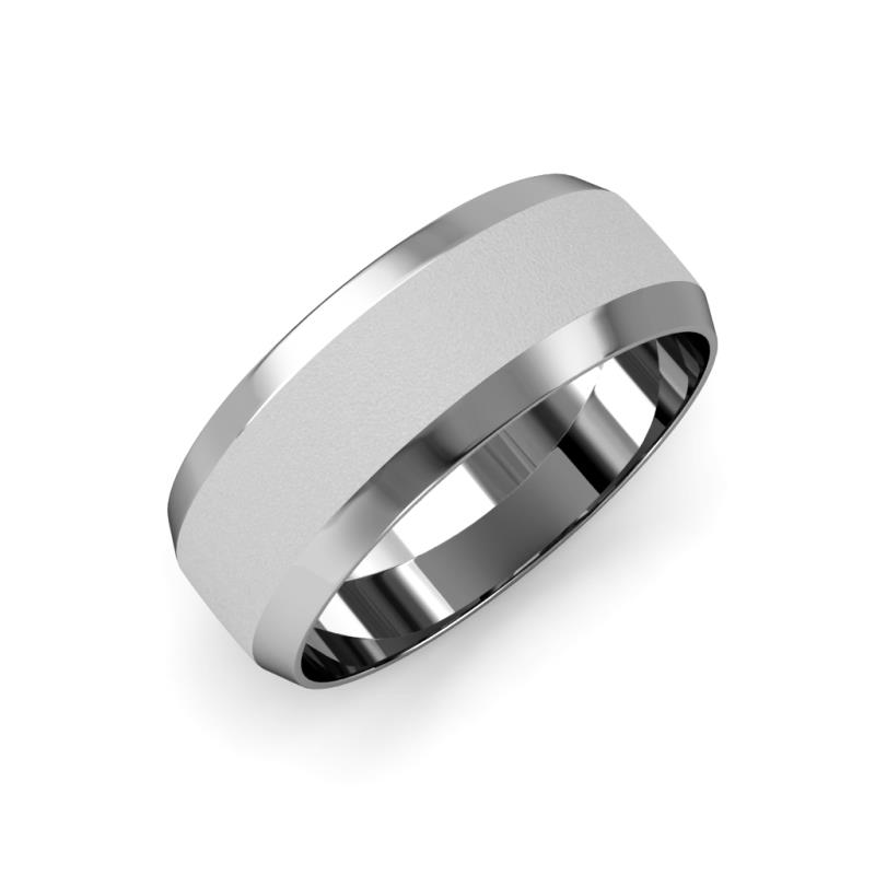 Feivel Glass Finish 4 mm Beveled Edge Wedding Band - Glass Finish 4 mm Beveled Edge Unisex Wedding Band 14K White Gold